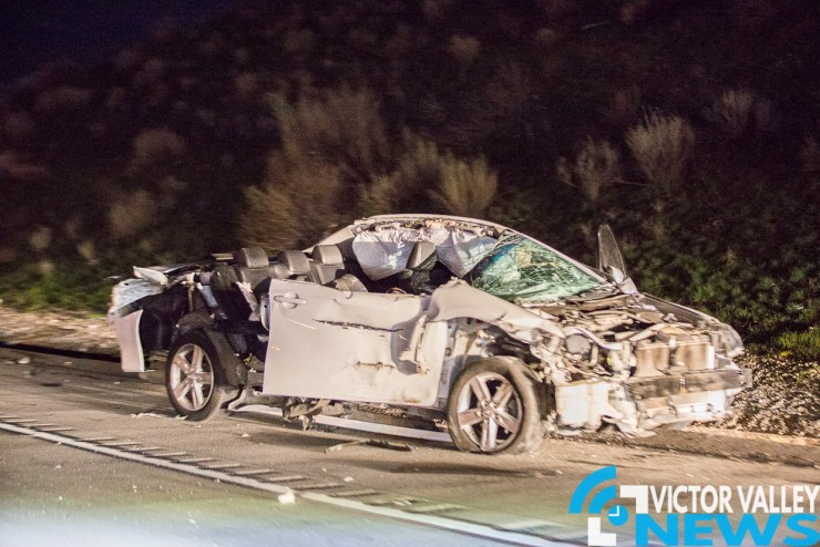 Man walked away from accident with no injuries. (Gabriel D Espinoza, Victor Valley News)