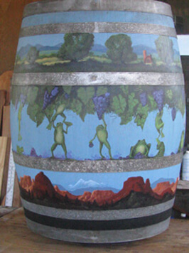 Country Bank Painted Barrel
