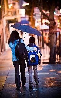 mother & son, city street