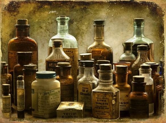 apothecary bottles, poison