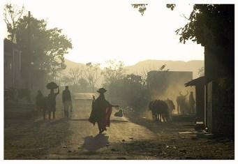 India, dawn, village