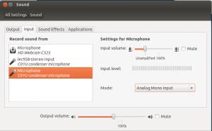 Ubuntu / Gnome sound settings: Microphone set to unampfilied.