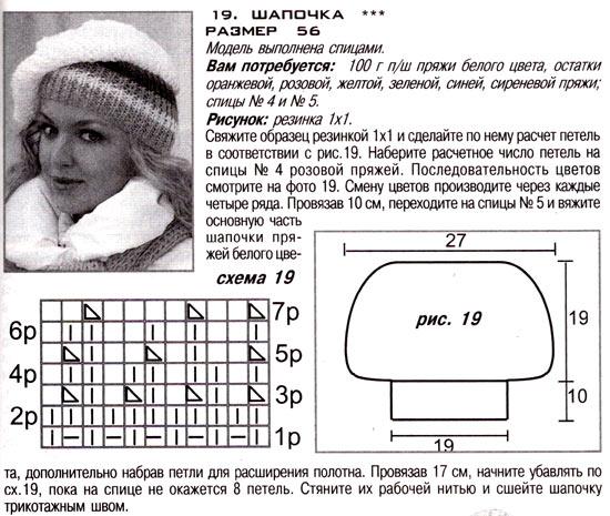 шапка-берет спицами схема 1