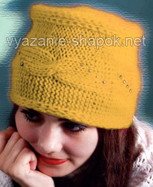 шапка женская вязаная спицами