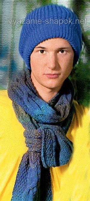 Вязание мужской шапки и мужского шарфа спицами | Вязание ...