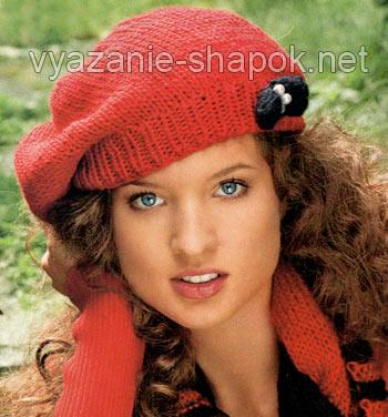 красный берет спицами для начинающих вязание шапок модные и