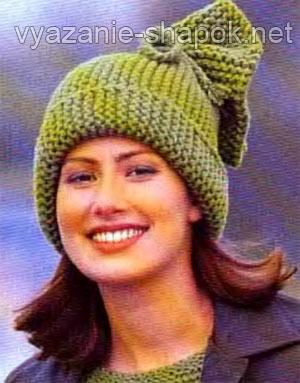 очень простая шапка платочной вязкой вязание шапок модные и