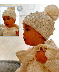шапочка и шарфик на малыша спицами