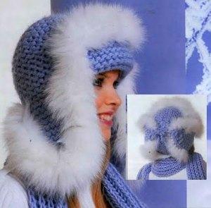 Зимняя шапка ушанка спицами