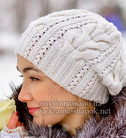 Зимняя шапка спицами Starr