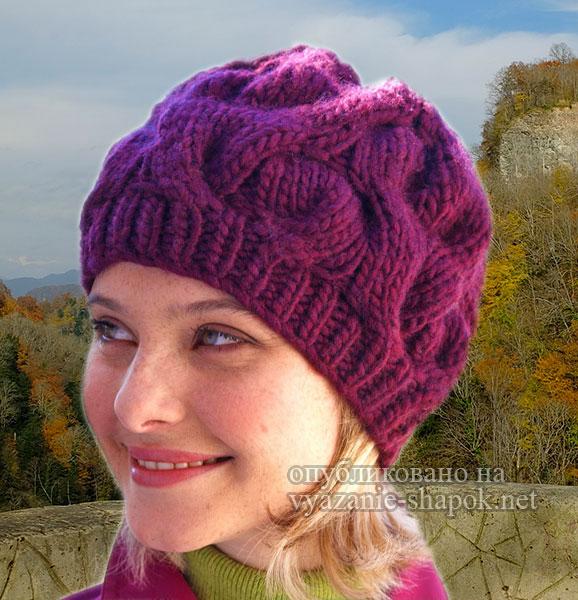 Вязание спицами - шапка с косами от бернат