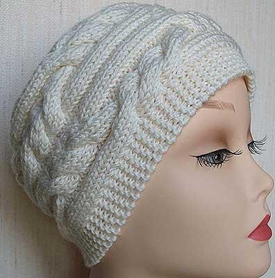 шапка поперечные косы спицами