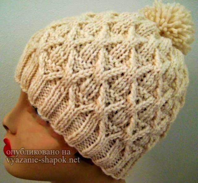 шапка плетенка спицами схема с описанием женские креативные