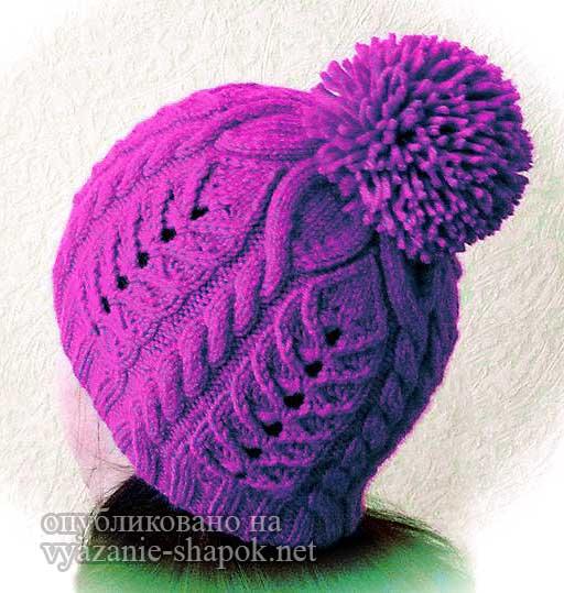 женская шапка с помпоном спицами - Снежинка