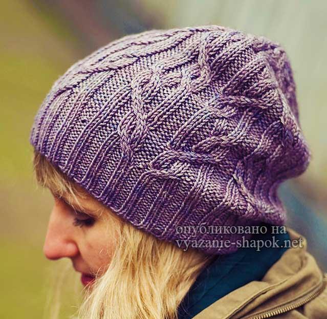 Необычные араны - женская шапка спицами