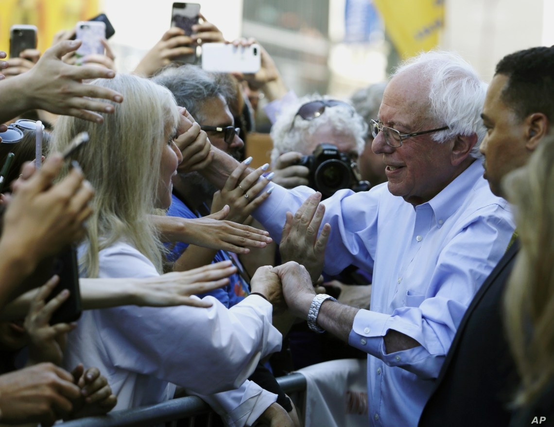 Democratic presidential candidate Bernie Sanders, I-Vt., participates in a rally alongside unions, hospital workers and community members against the closure of Hahnemann University Hospital in Philadelphia, July 15, 2019.
