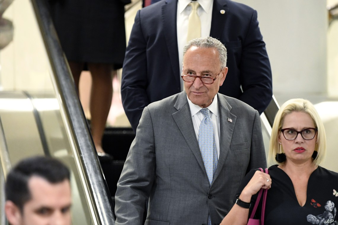 Senate Minority Leader Chuck Schumer of New York heads to a briefing on election security on Capitol Hill in Washington, July 10, 2019.