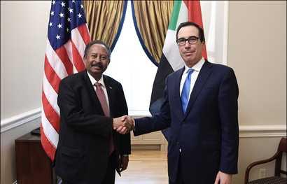 U.S. Treasury Secretary Steven Mnuchin (R) meets with Sudan's Prime Minister Abdalla Hamdok in Washington, December 3, 2019. (Twitter - @stevenmnuchin1)