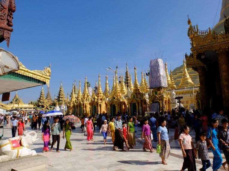 Burmese people visiting Swedagon Pagoda   © Vylyst