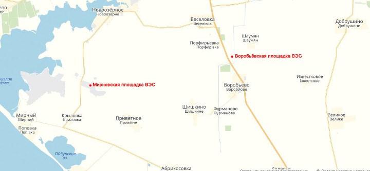 Карта расположения Мирновской ВЭС