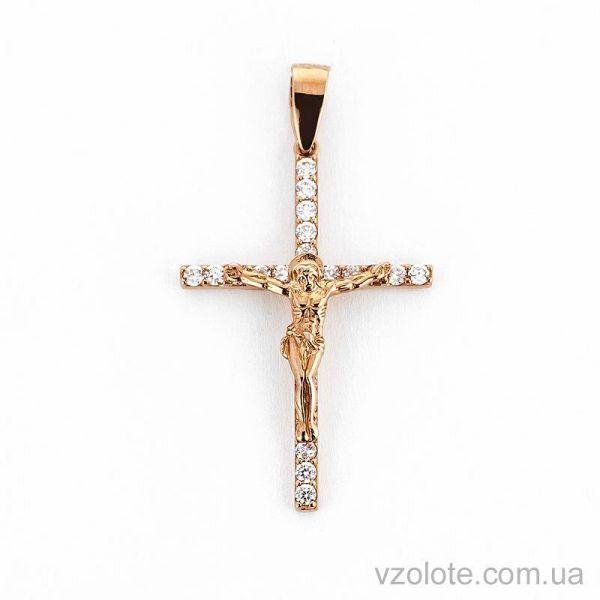 Купить золотой крестик с фианитами (арт. 501387 ...