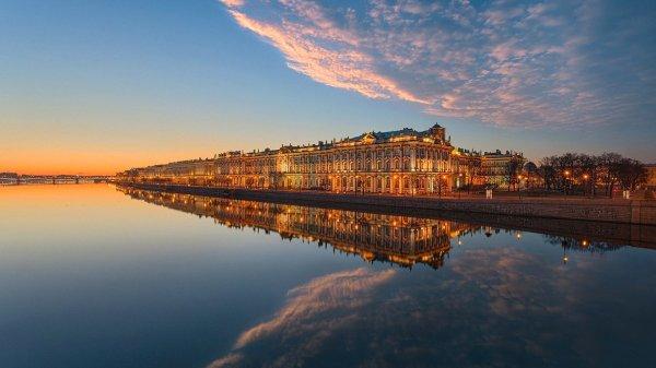 санкт-петербург небо облака закат река нева мост ...