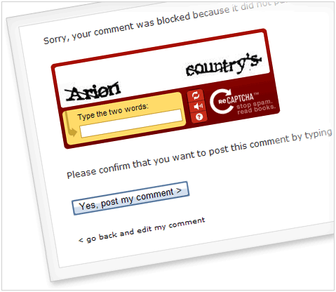 CAPTCHA for a blocked comment (a dramatic angle!)