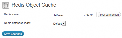 Redis Object Cache settings page screenshot