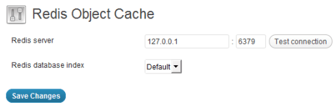 Redis Object Cache settings page screenshot