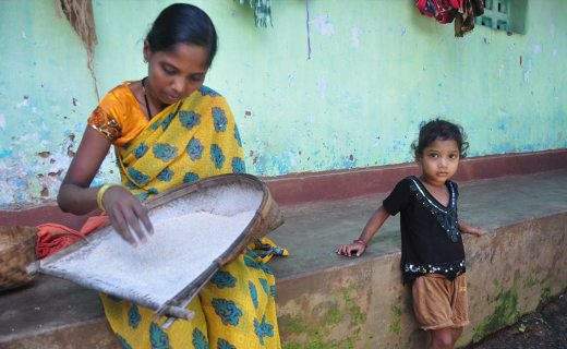 Soni Baghel and her second born daughter at her home in Billori village.
