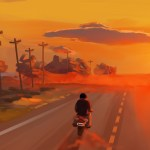 Sunset Road Illustration 1920x840 Wallpaper Wallhaven Cc