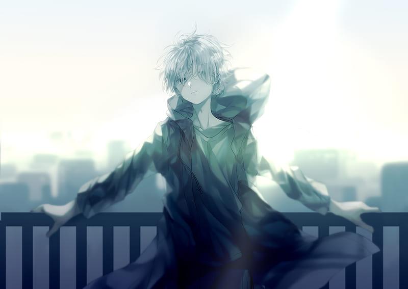 Anime Boy Hoodie Night Cityscape Rooftop Sword Anime Hd Wallpaper Peakpx