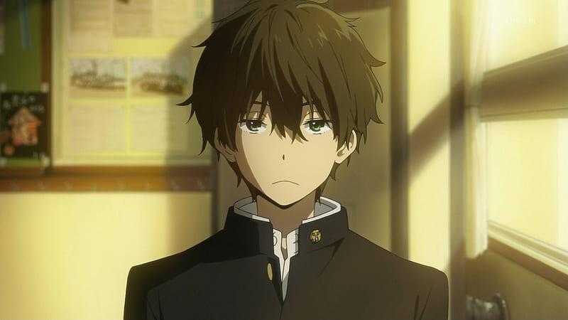 Turn That Frown Upside Down Anime Guy Black Hair Anime Messy Hair Sad School Uniform Hd Wallpaper Peakpx