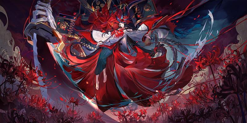 Onmyouji Higanbana Giant Sword Samurai Anime Games Katana Petals Anime Hd Wallpaper Peakpx