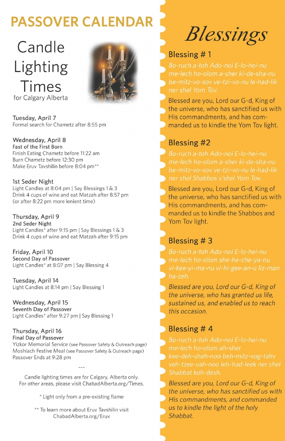passover candle lighting times chabad