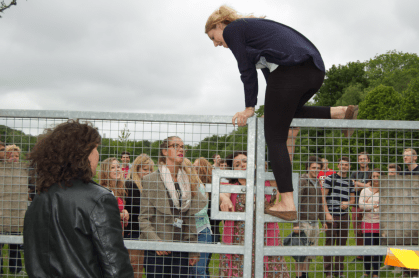 forced to climb the fence (the gates were opened for us later)