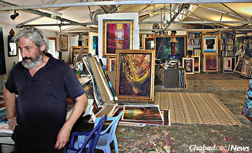 The artist in his studio a week before the fire.