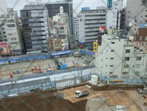 豊島区役所跡地の工事現場