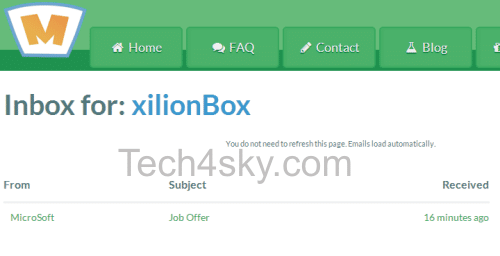 Mailinator Inbox View