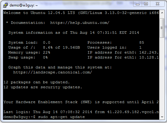 PuTTY is a client program for the SSH, Telnet and Rlogin network protocols.