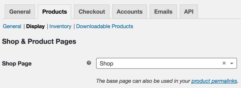 WooCommerce shop page setup