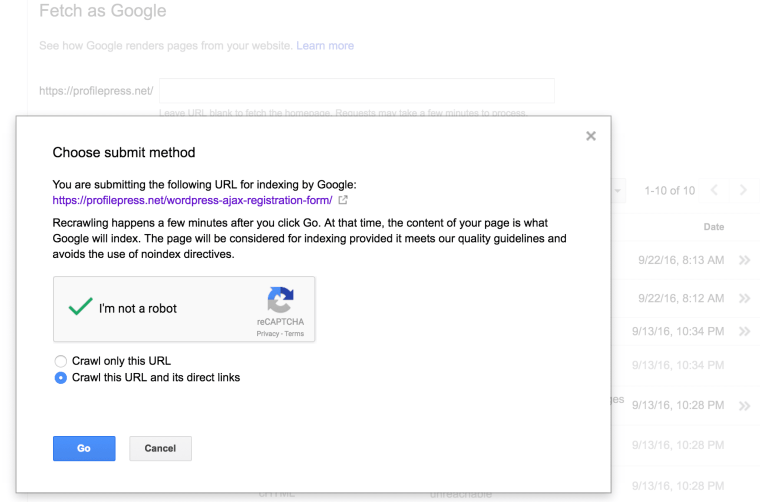 Modal to send the crawl / index request to Google