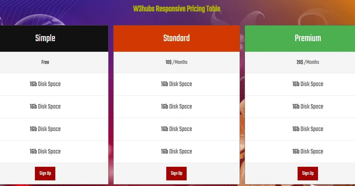 responsive price table with html5 and css3