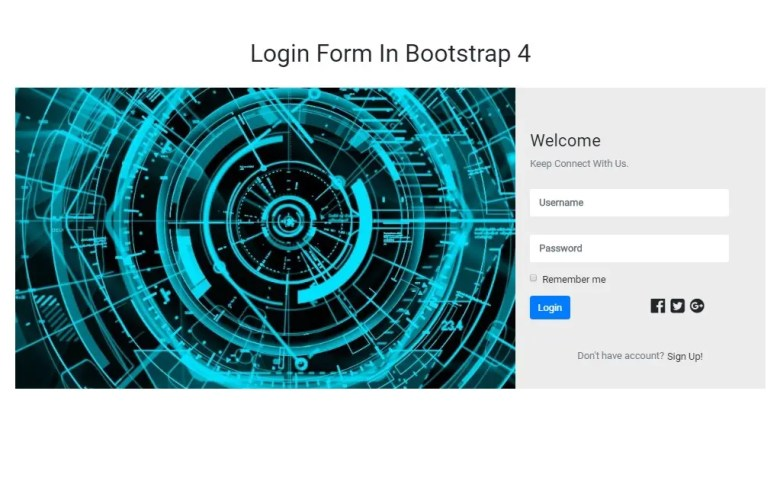 Welcome Login Form In Bootstrap 4(Desktop)