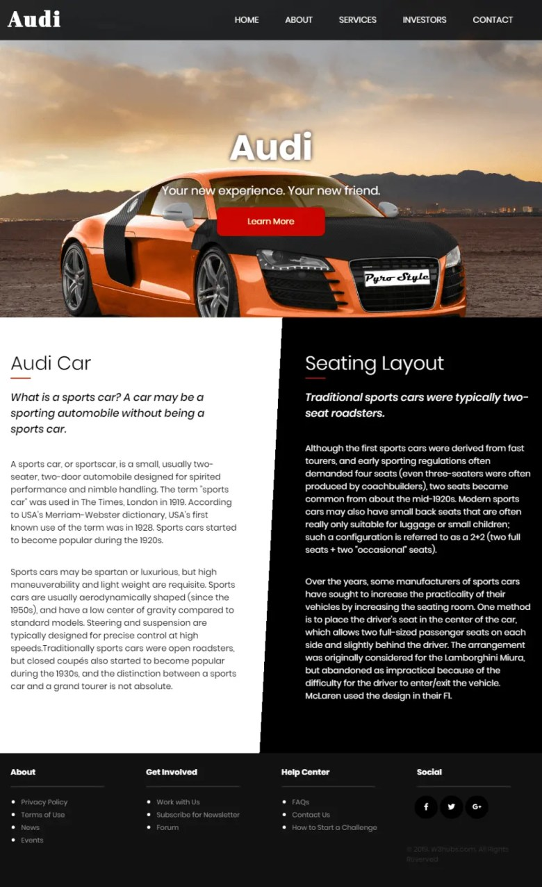 Audi Landing Page In Html and css