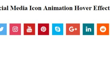 Social Media Icon Animation Hover Effect