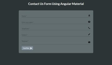 Contact Us Form Using Angular Material