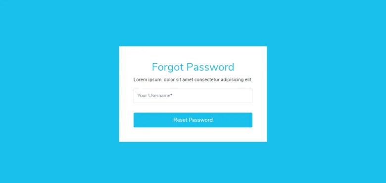 Reset Password Form In Bootstrap