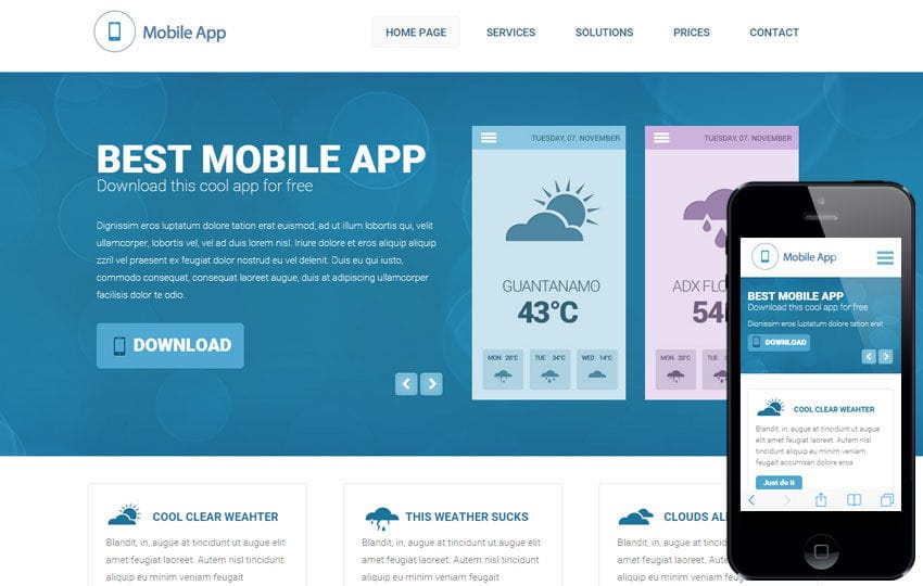 Weather a Mobile App based Flat Bootstrap Responsive Web Template by