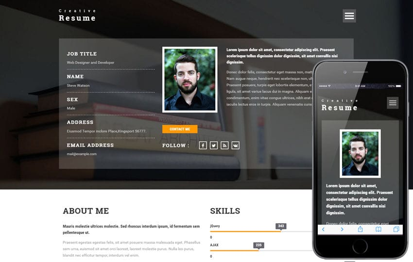 Creative Resume A Personal Category Bootstrap Responsive Web Template Mobile Website Free